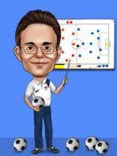 Entraineur coaching tableau consignes tactiques ballon de foot vestiaire